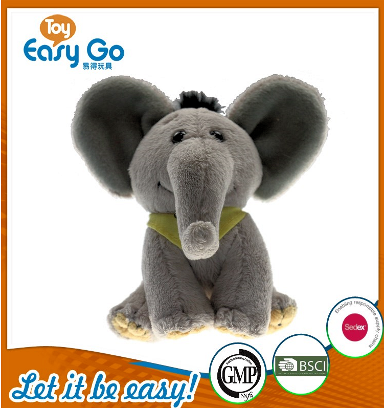 BSCI stuffed grey sitting elephant with yellow bib
