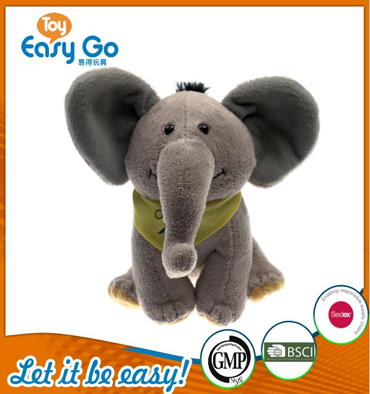 BSCI stuffed grey sitting elephant with bib