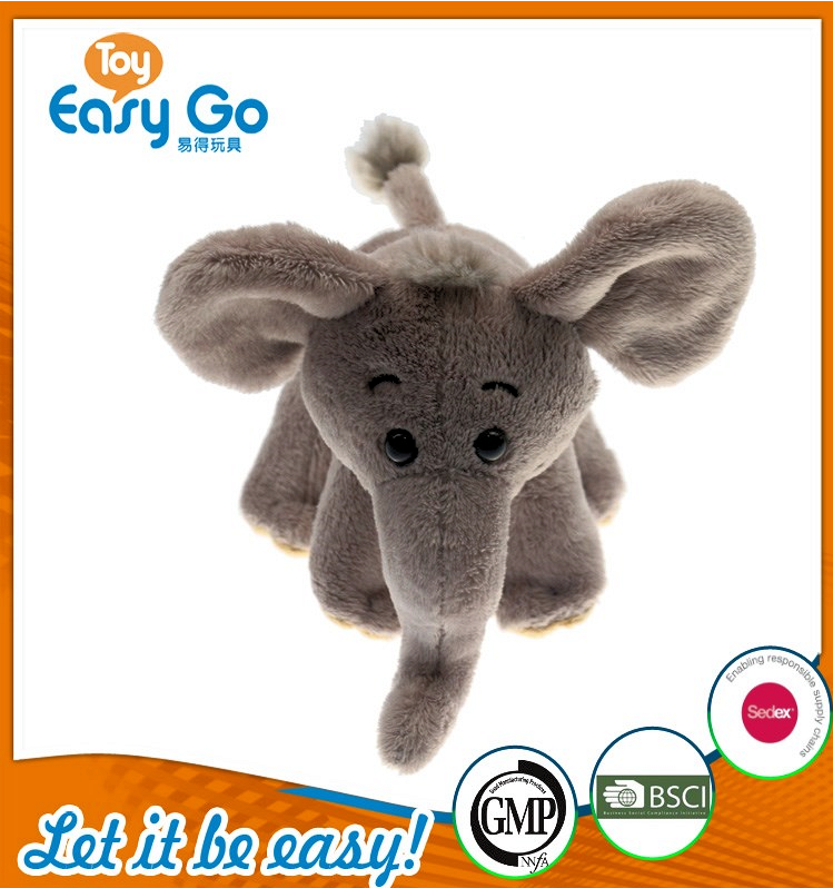 BSCI stuffed grey sitting elephant with white bib