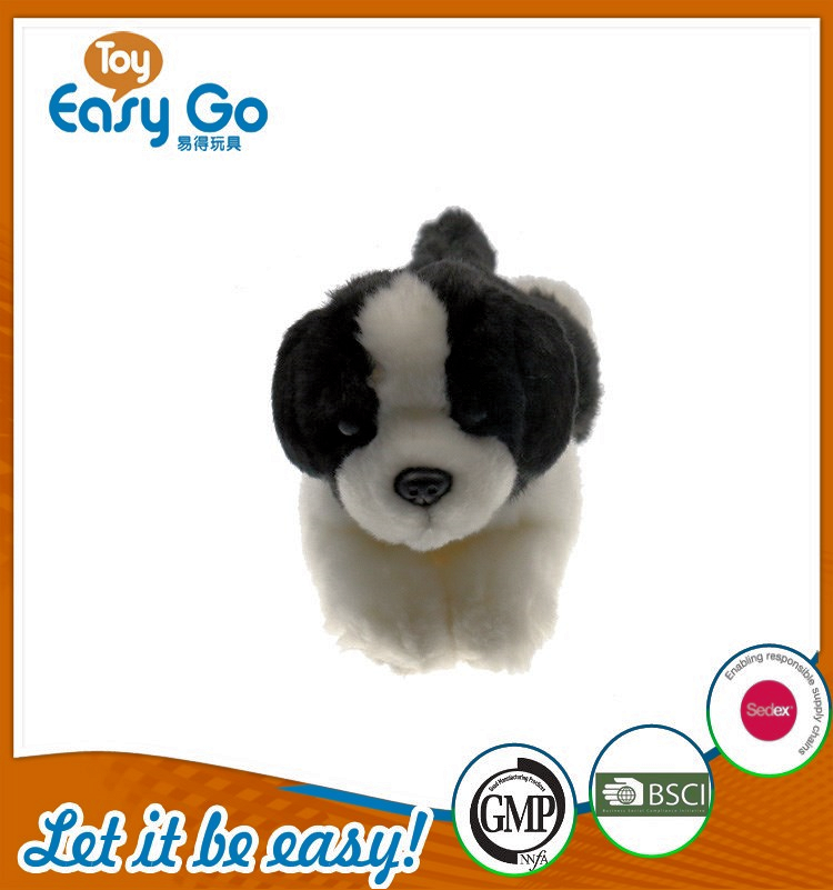 BSCI hot sale stuffed black and white laying dog
